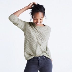 Madewell Cableknit Fringe Wool Sweater